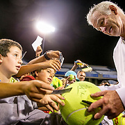 August 25, 2016, New Haven, Connecticut: <br /> John McEnroe signs autographs during the Men's Legends Event on Day 7 of the 2016 Connecticut Open at the Yale University Tennis Center on Thursday, August  25, 2016 in New Haven, Connecticut. <br /> (Photo by Billie Weiss/Connecticut Open)