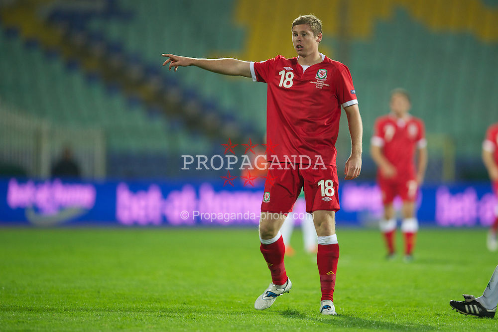 SOFIA, BULGARIA - Tuesday, October 11, 2011: Wales' Simon Church in action against Bulgaria during the UEFA Euro 2012 Qualifying Group G match at the Vasil Levski National Stadium. (Pic by David Rawcliffe/Propaganda)
