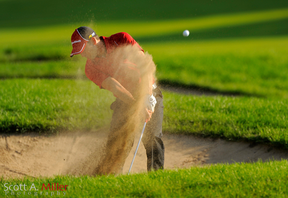 Aug 13, 2009; Chaska, MN, USA; Sergio Garcia (ESP) hits out of a bunker on the 11th hole during the first round of the 2009 PGA Championship at Hazeltine National Golf Club.  ©2009 Scott A. Miller