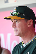ANAHEIM, CA - AUGUST 29:  Manager Bob Melvin #6 of the Oakland Athletics talks to the media in the dugout during batting practice before the game against the Los Angeles Angels of Anaheim at Angel Stadium on Saturday, August 30, 2014 in Anaheim, California. The Angels won the game in a 2-0 shutout. (Photo by Paul Spinelli/MLB Photos via Getty Images) *** Local Caption *** Bob Melvin