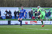 Forest Green Rovers Liam Noble(15) shoots at goal scores a goal 2-0 during the Vanarama National League match between Forest Green Rovers and Macclesfield Town at the New Lawn, Forest Green, United Kingdom on 4 March 2017. Photo by Shane Healey.