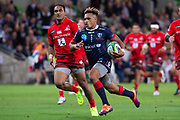 MELBOURNE, AUSTRALIA - APRIL 06: Will Genia of the Rebels runs the ball downfield for a try at round 8 of The Super Rugby match between Melbourne Rebels and Sunwolves on April 06, 2019 at AAMI Park in VIC, Australia. (Photo by Speed Media/Icon Sportswire)