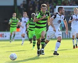 Christian Doidge of Forest Green Rovers gets past Alex Kenyon of Morecambe - Mandatory by-line: Nizaam Jones/JMP - 28/10/2017 - FOOTBALL - New Lawn Stadium - Nailsworth, England - Forest Green Rovers v Morecambe - Sky Bet League Two