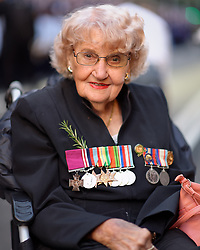 April 25, 2016 - Sydney, NSW, Australia - Daphne Dunne, widow of Victoria Cross recipient Albert Chowne VC MM prior to the Anzac Day March in Sydney. (Credit Image: © Hugh Peterswald/Pacific Press via ZUMA Wire)