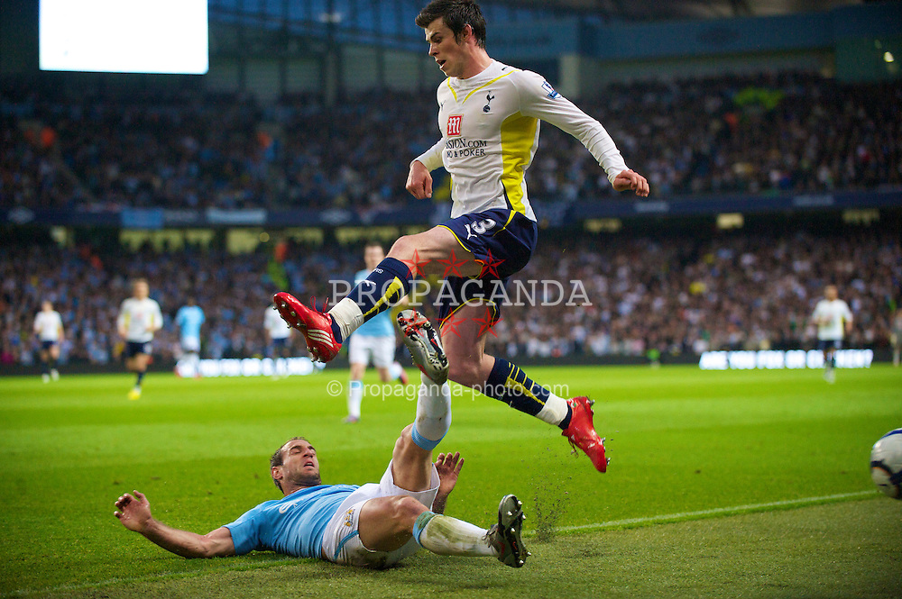 MANCHESTER, ENGLAND - Wednesday, May 5, 2010: Manchester City's Pablo Zabaleta tackles Tottenham Hotspur's Gareth Bale during the Premiership match at City of Manchester Stadium. (Photo by David Rawcliffe/Propaganda)
