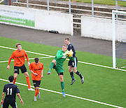 Dundee United goalkeeper Mark McCallum holds a cross under pressure from Dundee's Josh Skelly  - Dundee v Dundee United under 20s<br /> <br />  - &copy; David Young - www.davidyoungphoto.co.uk - email: davidyoungphoto@gmail.com
