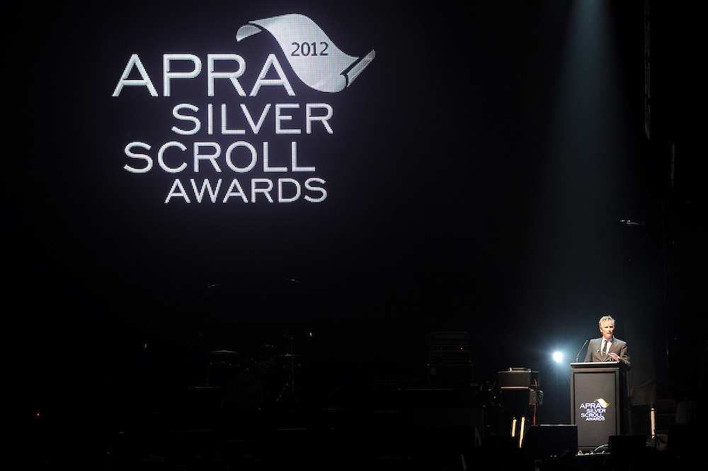 Anthony Healey on stage at the APRA Silver Scroll Awards 2012. Auckland Town Hall. 13 September 2012.