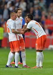 05-06-2015 NED: Oefeninterland Nederland - USA, Amsterdam<br /> Oranje verliest oefeninterland tegen Verenigde Staten met 4-3 / Memphis Depay #11 scoort de 3-1 met ned6/, Daley Blind #5