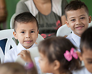 September 17, 2017: Images from Villa del Prado School, Rivera Huila,  Colombia.  Children, Teachers and Parents attend a ceremony thanking the Piscicola New York S.A Tilapia Company, and Tropical Aquaculture Products, Inc, VT, USA.  for donating materials and supplies for painting the school.  (Photo ©Todd Bissonette - rtb111@gmail.com)  **Editorial Only**