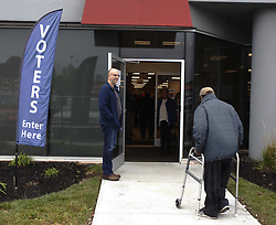 November 2, 2018 - Cincinnati, Ohio, U.S. - A Voter makes his way into the Board of Education to put in his early vote in Cincinnati. As lots of locals made the drive to get there vote in ahead of the National voting day on Nov 6, 2018. (Credit Image: © Ernest Coleman/ZUMA Wire)