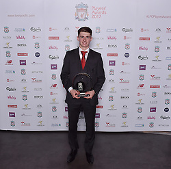 LIVERPOOL, ENGLAND - Tuesday, May 9, 2017: Liverpool's Ben Woodburn wins the Academy Player of the Season 2017 Award sponsored by Aspire Partners at the Liverpool FC Players' Awards 2017 at Anfield. (Pic by Andrew Powell/Liverpool FC/Pool/Propaganda)