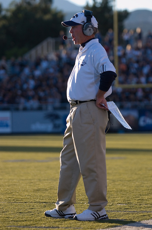 Nevada head coach Chris Ault (cq) on the sidelines during the first quarter of the Wolf Pack's home opener against Nicholls State, Saturday night, Sept. 15, 2007 at Mackay Stadium in Reno, Nev. The Pack beat the Colonels 52-17...Photo by David Calvert/Nevada Sagebrush
