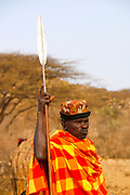Samburu Maasai warrior with spear. Samburu Maasai an ethnic group of semi-nomadic people Photographed in Samburu, Kenya