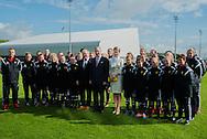 Roi Philippe de Belgique et la Reine Mathilde en visite officielle dans la Province du Brabant Wallon. Apres avoir visite le centre de formation sportive, les souverains ont visites l'entreprise Euro Heat Pipes a Nivelles pour ensuite etre recu a l'hotel de ville de Nivelles par les autorites ainsi qu'au Waux-hall ou les attendaient un grand nombre d'enfants.<br /> Belgique, Tubize, Nivelles, le 30 avril 2015