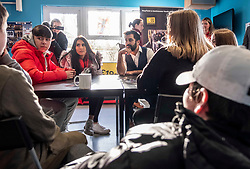 Pictured: Humza Yousaf chats to some of the drop ins to the 180 Project<br />