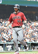 April 11, 2018 - San Francisco, CA, U.S. - SAN FRANCISCO, CA - APRIL 11:Arizona Diamondbacks First base Paul Goldschmidt (44) comes into home plate for his score during the game between the Arizona Diamondbacks and the San Francisco Giants on Wednesday, April 11, 2018 at AT&T Park in San Francisco, CA (Photo by Douglas Stringer/Icon Sportswire) (Credit Image: © Douglas Stringer/Icon SMI via ZUMA Press)