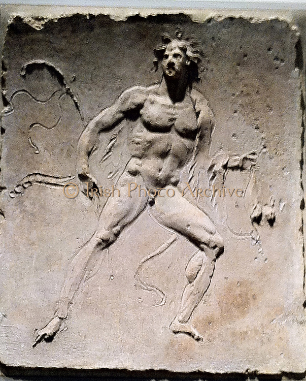 Stucco relief (Roman) depicting a male figure. 1st Century AD