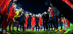 CARDIFF, WALES - Friday, November 24, 2017: Wales' manager Jayne Ludlow and players celebrate in a team huddle after the 1-0 victory over Kazakhstan during the FIFA Women's World Cup 2019 Qualifying Round Group 1 match between Wales and Kazakhstan at the Cardiff City Stadium. Jessica Fishlock, Rachel Rowe, Hayley Ladd, goalkeeper Laura O'Sullivan, Angharad James, Nadia Lawrence, goalkeeper Claire Skinner, Alice Griffiths, Rhiannon Roberts. (Pic by David Rawcliffe/Propaganda)
