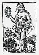 Planetary figure of Venus. From 'Sphaera mundi', Strasburg, 1539.