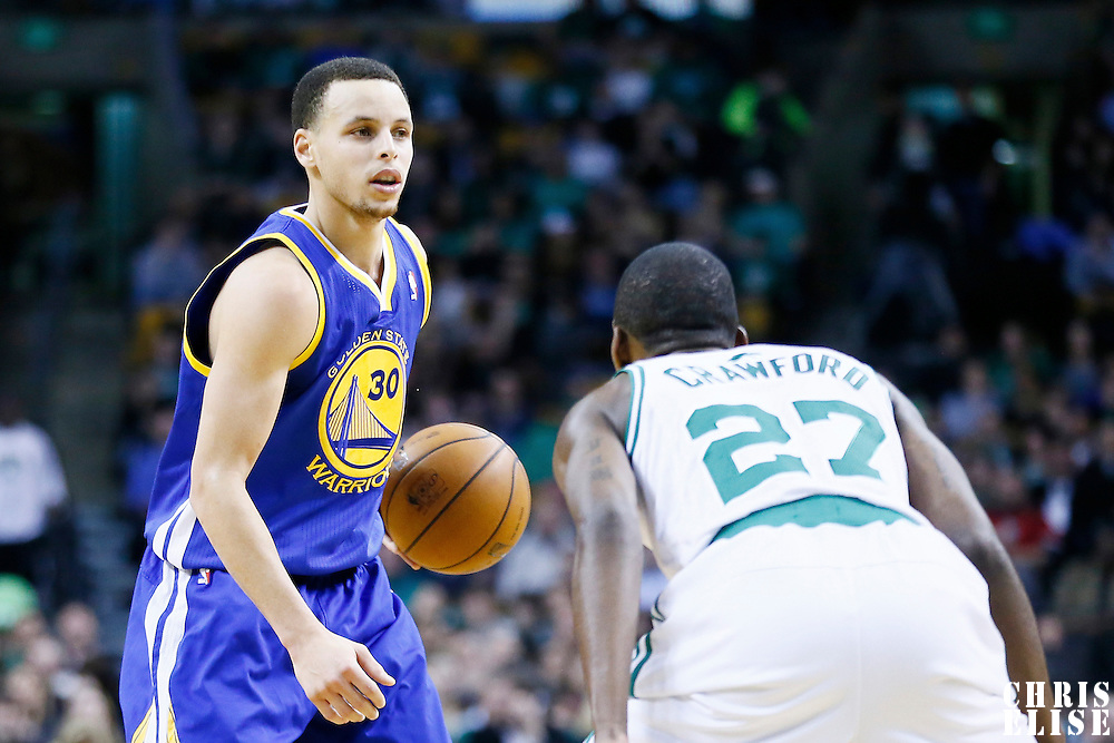 01 March 2013: Golden State Warriors point guard Stephen Curry (30) is seen during the Boston Celtics 94-86 victory over the Golden State Warriors at the TD Garden, Boston, Massachusetts, USA.