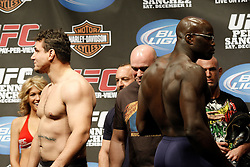 Dec 12, 2009; Memphis, TN, USA; UFC heavyweight's Frank Mir (l) and Cheick Kongo (r) turn their backs on each other after weighing in for their upcoming bout at UFC 107.  The two will meet at the FedEx Forum in Memphis, TN.