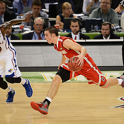 Mar 31, 2012; New Orleans, LA, USA; Ohio State Buckeyes guard Aaron Craft (4) dribbles the ball past Kansas Jayhawks guard Tyshawn Taylor (10) during the first half in the semifinals of the 2012 NCAA men's basketball Final Four at the Mercedes-Benz Superdome. Mandatory Credit: Derick E. Hingle-US PRESSWIRE