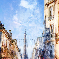 What can be more iconic than a street in Paris with the eiffel tower in the background? The artistic after effect makes a great image perfect for the feel of artistic Paris. I have this image printed and framed at home. I love it!