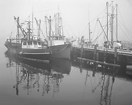Fishing Boats And Pier On A Foggy Day At Southwest Harbor, Acadia National Park, Maine, USA