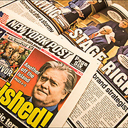 """New York Post newspaper headline """" Ban-ished"""" Bannon is out."""