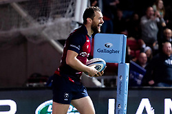 Luke Morahan of Bristol Bears celebrates scoring his sides first try of the game  - Mandatory by-line: Ryan Hiscott/JMP - 18/10/2019 - RUGBY - Ashton Gate - Bristol, England - Bristol Bears v Bath Rugby - Gallagher Premiership Rugby