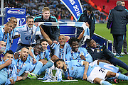 Manchester City  celebrate winning the cup during the Capital One Cup match between Liverpool and Manchester City at Anfield, Liverpool, England on 28 February 2016. Photo by Simon Davies.
