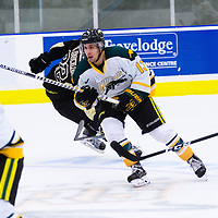 1st year forward Tristan Frei (13) of the Regina Cougars in action during the Men's Hockey Home Opener on October 21 at Co-operators arena. Credit: Arthur Ward/Arthur Images