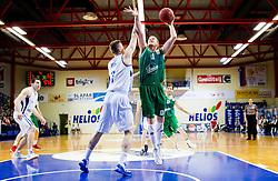 Gezim Morina of Helios vs Dino Muric of Union Olimpija during basketball match between KK Helios Domzale and KK Union Olimpija Ljubljana in 7th Round of Telemach League 2012/13 on April 17, 2013 in Arena Komunalni center, Domzale, Slovenia. (Photo By Vid Ponikvar / Sportida)