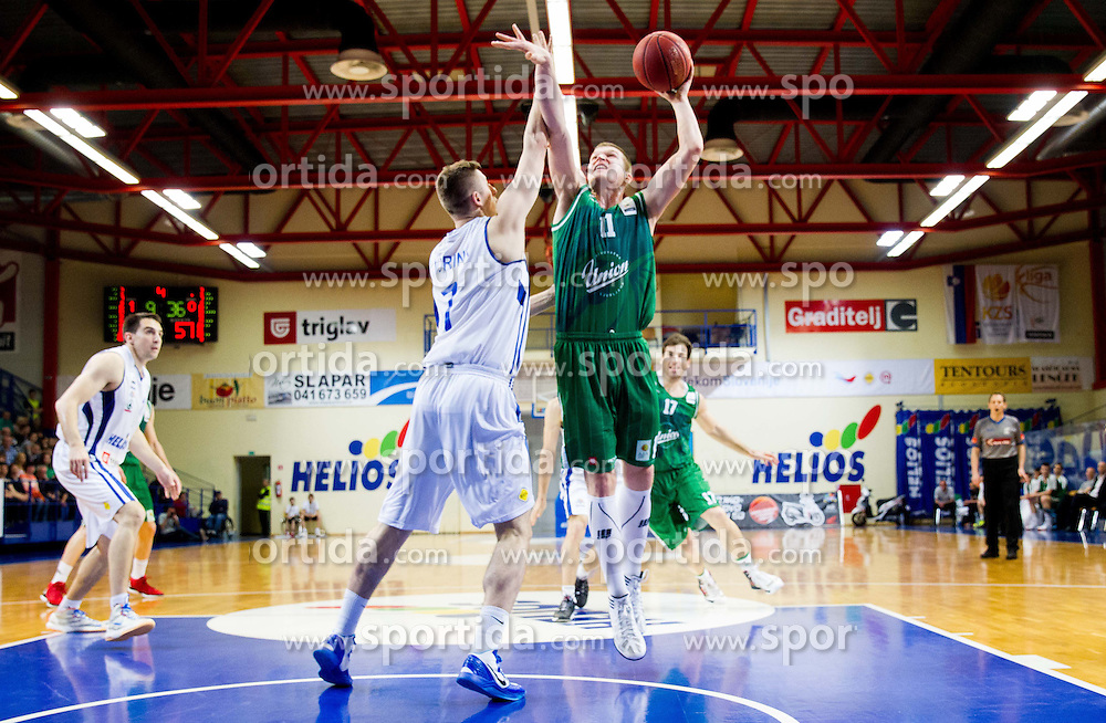 Gezim Morina of Helios vs Dino Muric of Union Olimpija during basketball match between KK Helios Domzale and KK Union Olimpija Ljubljana in 7th Round of Telemach League 2012/13 on April 17, 2013 in Arena Komunalni center, Domzale, Slovenia. (Photo By Vid Ponikvar / Sportida)