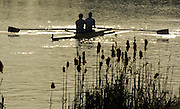2005 GB Rowing Senior Trails, Hazenwinkel, BELGIUM; Tuesday 12.04.2005, Men's Pair leaves the boating area, to compete in the Final of the men's coxless pair, on the second day of the GB Rowing Seniors Trails...Photo  Peter Spurrier. .email images@intersport-images.. GB Senior Rowing Trails, Rowing Course, Bloso, Hazewinkel. BELGUIM