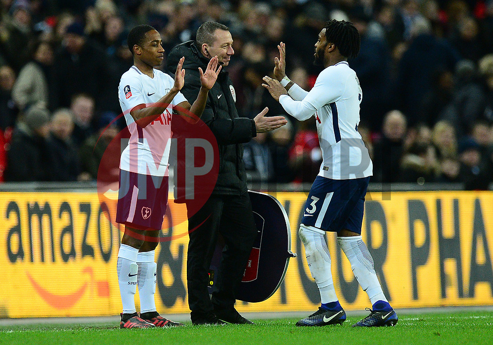 Danny Rose of Tottenham Hotspur is replaced by Kyle Walker-Peters of Tottenham Hotspur - Mandatory by-line: Alex James/JMP - 07/02/2018 - FOOTBALL - Wembley Stadium - London, England - Tottenham Hotspur v Newport County - Emirates FA Cup fourth round proper