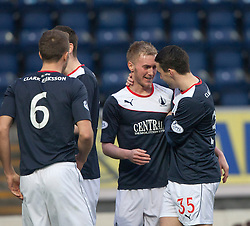 Falkirk's Craig Sibbald celebrates with team mate Falkirk's Mark Millar after scoring their first goal.<br /> Falkirk 3 v 1 Raith Rovers, Scottish Championship game at The Falkirk Stadium.