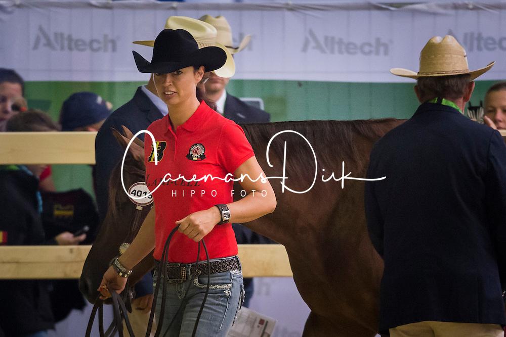 Ann Poels, (BEL), Big Sky Whizard - Horse Inspection Reining  - Alltech FEI World Equestrian Games™ 2014 - Normandy, France.<br /> © Hippo Foto Team - Dirk Caremans<br /> 25/06/14