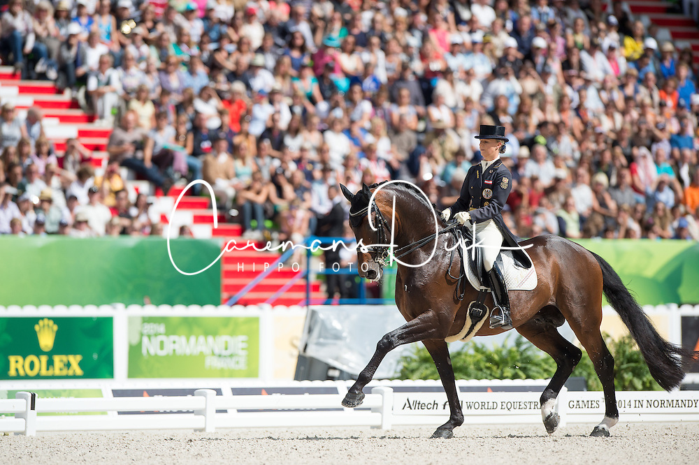 Victoria Max Theurer, (AUT), Augustin Old - Freestyle Grand Prix Dressage - Alltech FEI World Equestrian Games™ 2014 - Normandy, France.<br /> © Hippo Foto Team - Jon Stroud<br /> 25/06/14