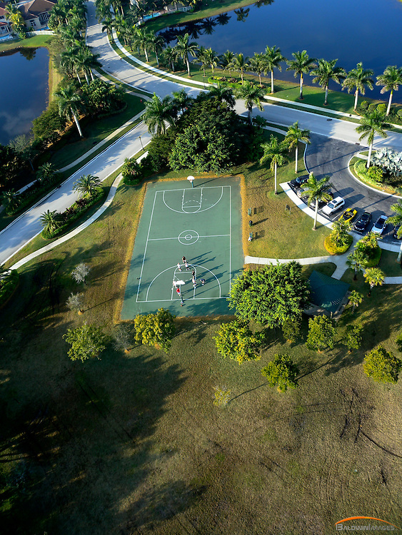 Aerial of outdoor basketball court in Weston