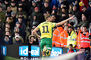 Norwich City striker (on loan from Sheffield Wednesday) Jordan Rhodes (11)  scores a goal and celebrates  1-1 during the EFL Sky Bet Championship match between West Bromwich Albion and Norwich City at The Hawthorns, West Bromwich, England on 12 January 2019.