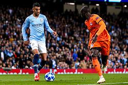 Riyad Mahrez of Manchester City takes on Ferland Mendy of Lyon - Mandatory by-line: Robbie Stephenson/JMP - 19/09/2018 - FOOTBALL - Etihad Stadium - Manchester, England - Manchester City v Lyon - UEFA Champions League Group F