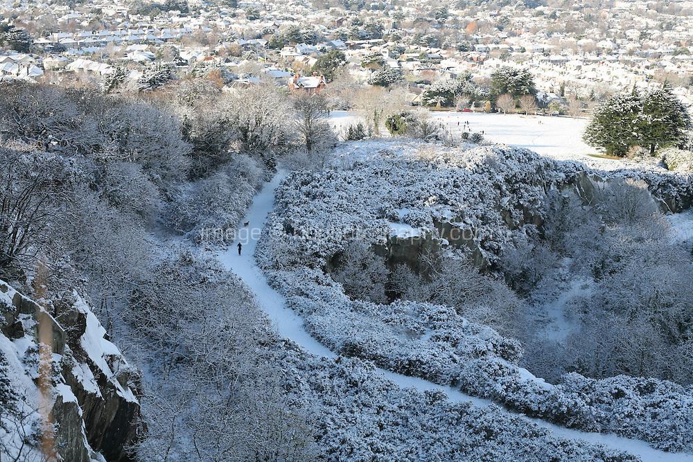 Snow covered Dalkey Hill Dublin Ireland November 2010