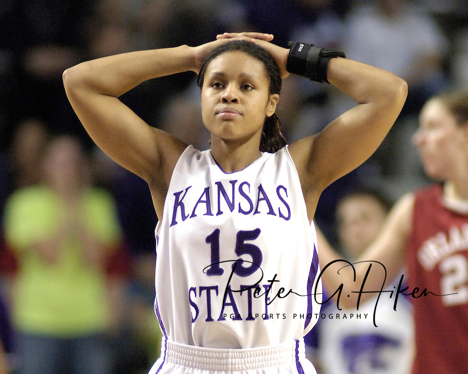 Kansas State's Twiggy McIntyre reacts after a Wildcat turn over during the first half against Oklahoma, at Bramlage Coliseum in Manhattan, Kansas, February 21, 2006.  The 9th ranked Sooners defeated K-State 78-64.