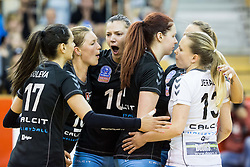 Players of Calcit celebrate during final match between Calcit Ljubljana and Nova KBM Branik Maribor in 1st DOL Women League 2015/16, on May 9, 2016, in Arena Tivoli, Ljubljana, Slovenia. OK Calcit Ljubljana became Slovenian Champions 2016. Photo by Vid Ponikvar / Sportida