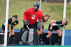 Providence Friars goalkeeper Rachel Chamberlain (00) and her defense prepare for a UVA corner.  The Virginia Cavaliers field hockey team defeated the Providence College Friars on the University Hall Turf Field on the Grounds of the University of Virginia in Charlottesville, VA on August 31, 2008.