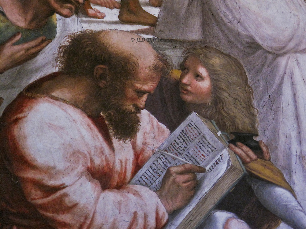 Raphael, stanza della signatura, fresco details of faces: bearded man writing in a large book, with a long haired boy looking on.