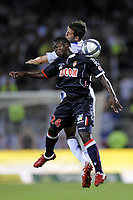 FOOTBALL - FRENCH CHAMPIONSHIP 2010/2011 - L1 - OLYMPIQUE LYONNAIS v AS MONACO - 07/08/2010 - PHOTO JEAN MARIE HERVIO / DPPI - NAMPALYS MENDY (ASM) / MIRALEM PJANIC (OL)