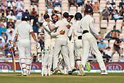 Wicket - Moeen Ali of England celebrates taking the wicket of Ajinkya Rahane of India during the 4th day of the 4th SpecSavers International Test Match 2018 match between England and India at the Ageas Bowl, Southampton, United Kingdom on 2 September 2018.