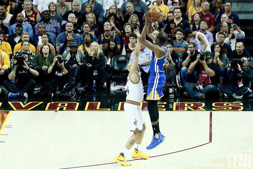 07 June 2017: Golden State Warriors forward Kevin Durant (35) takes a jump shot over Cleveland Cavaliers forward Richard Jefferson (24) during the Golden State Warriors 118-113 victory over the Cleveland Cavaliers, in game 3 of the 2017 NBA Finals, at  the Quicken Loans Arena, Cleveland, Ohio, USA.